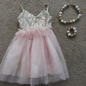 Gold and pink toddler dress